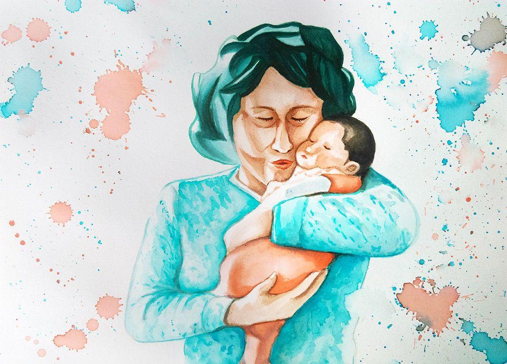 Création du portrait d'une grand mère et de sa petite fille